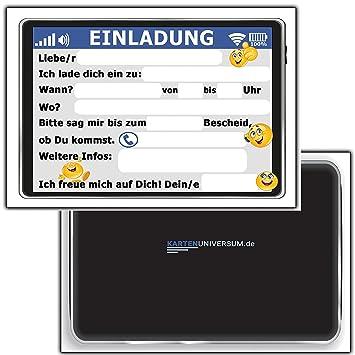 12 Er Set Lustige Einladungskarten Zum Kindergeburtstag Tablet Handy