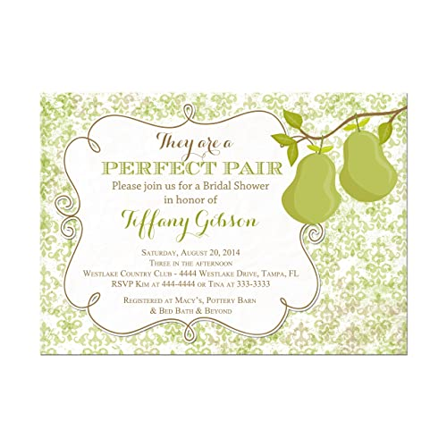 perfect pair pear bridal shower invitations green damask couples shower base price is for