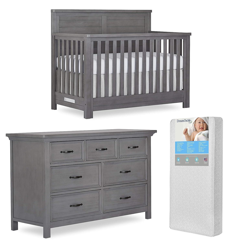 Evolur Belmar 5 In 1 Convertible Crib & Double Dresser with Free 260 Coil Crib & Toddler Mattress, Flat