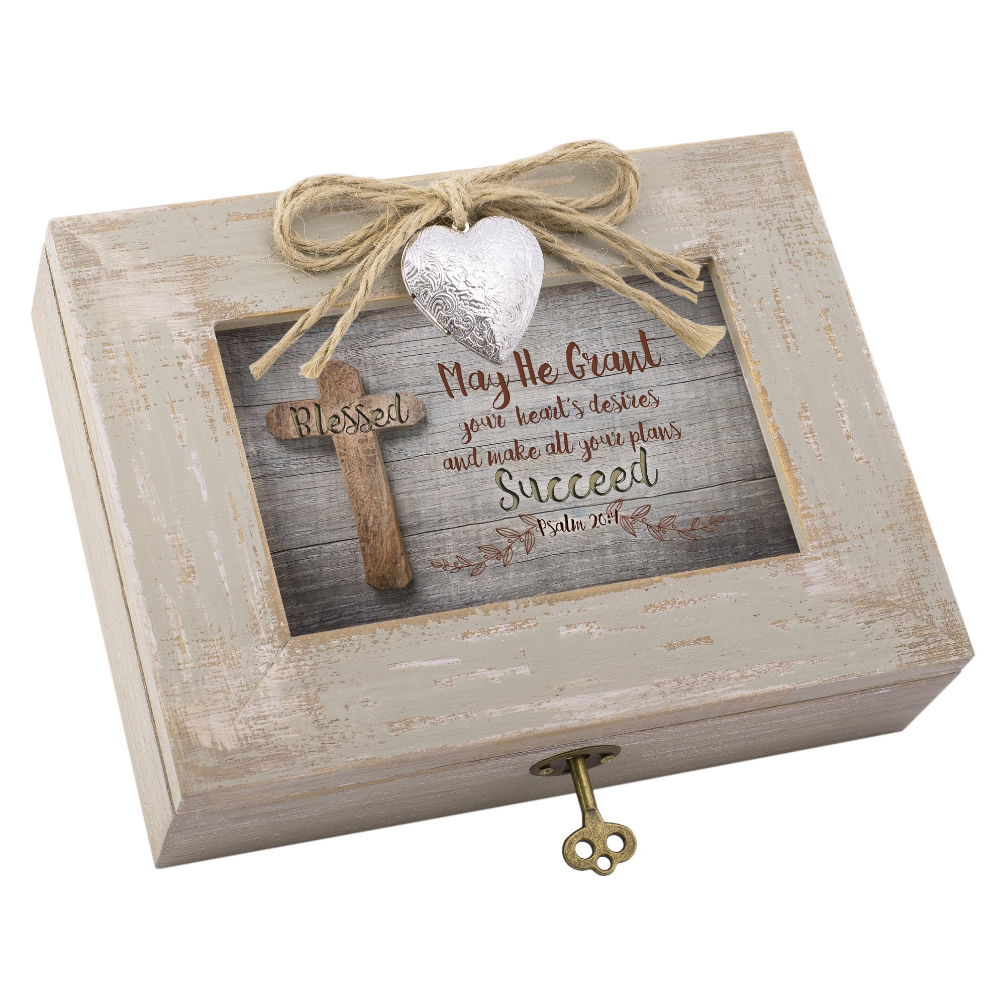 Cottage Garden Grant Your Plans Cross Distressed Wood Locket Jewelry Music Box Plays Tune We Have a Friend in Jesus