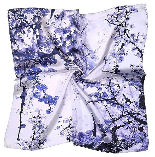 Bees Knees Fashion - Sciarpa - Blu Fiore Bianco Sciarpa Quadrata Stampata Piccola Seta Di Spessore
