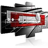 Cuadro en Lienzo 200x100 cm - Tres colores a elegir - 5 partes - Impresion en calidad fotografica - Cuadro en lienzo tejido-no tejido - abstraccion Balla a-A-0209-b-n 200x100 cm B&D XXL