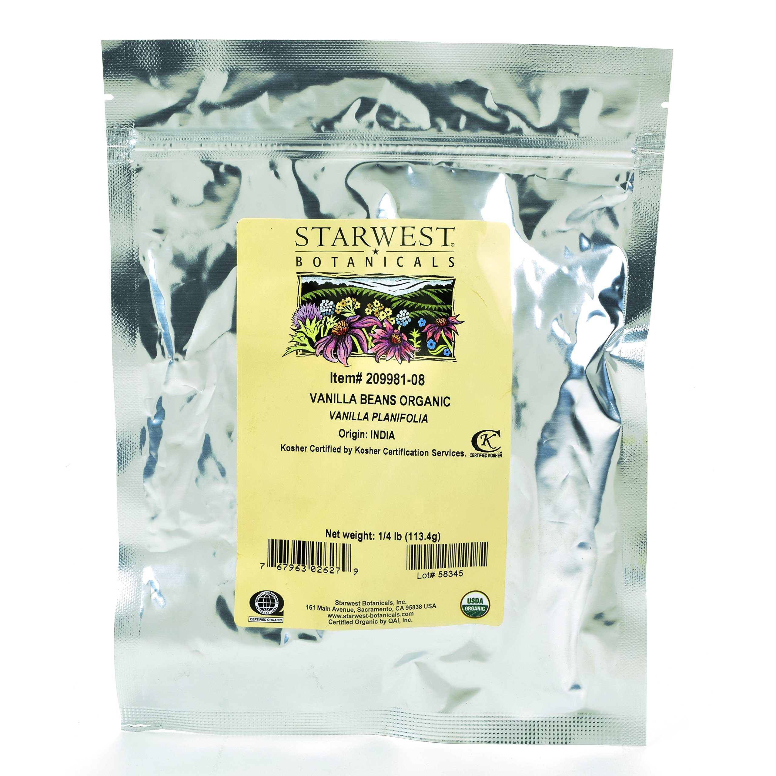 Starwest Botanicals Organic Vanilla Beans, 1/4 Pound