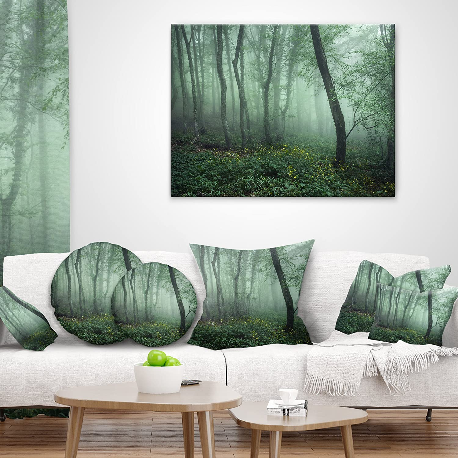 Sofa Throw Pillow 26 in Insert Printed On Both Side x 26 in in Designart CU8444-26-26 Trail Through Dark Foggy Forest Landscape Photography Cushion Cover for Living Room