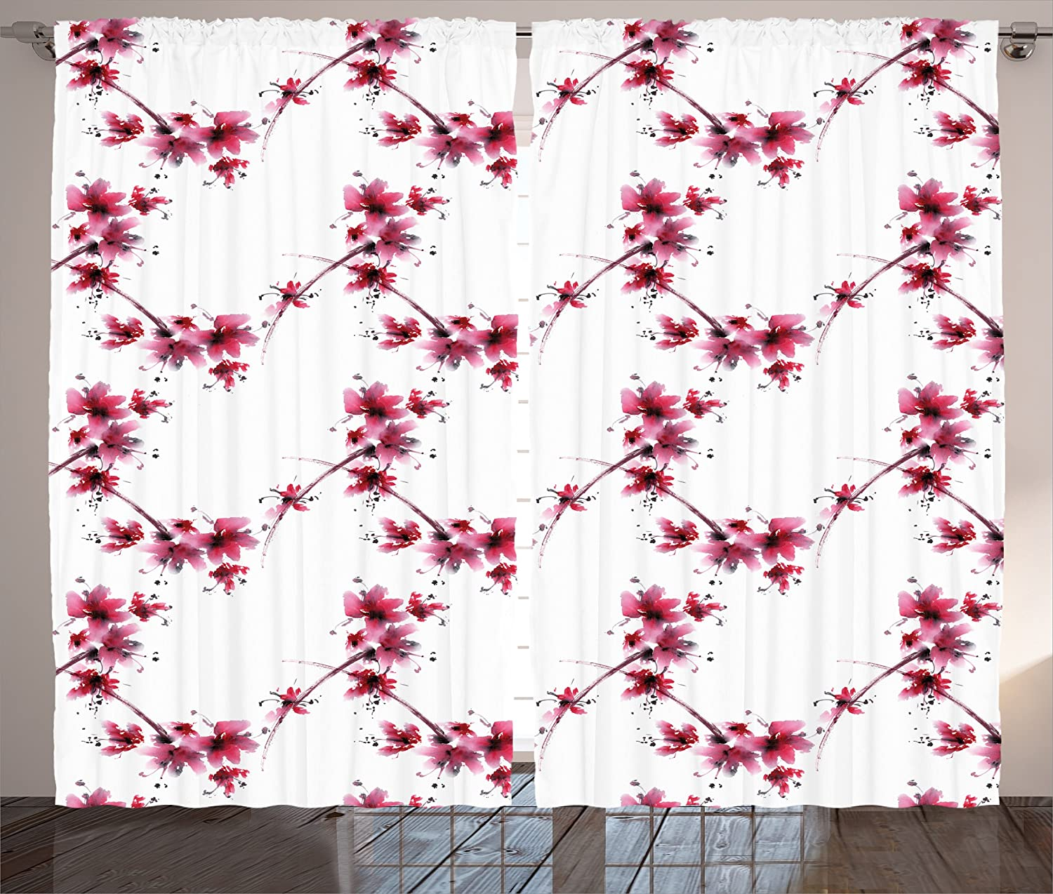 Amazon.com: Asian Decor Curtains by Ambesonne, Watercolors Petal ...