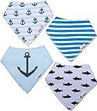4er Set Baby Lätzchen, blaue Dreieckstücher für Jungen aus Baumwolle, größenverstellbar mit Druckknopf