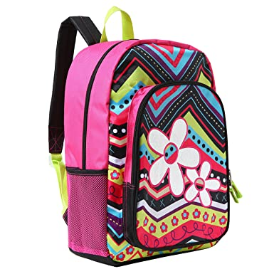 MGgear 17 Inch Flower ZigZag Pattern Kids School Book Bag Backpack For Girls