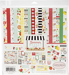 Carta Bella Paper Company Summer Market Collection Kit paper, red, pink, green, yellow, black, teal