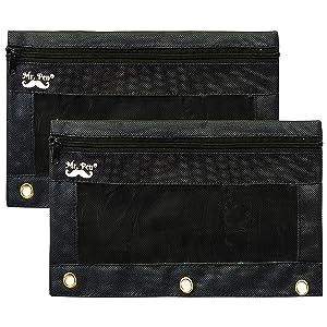 Mr. Pen - Black Pencil Pouch, 2 Fabric Pencil Pouches, Binder Pockets, Black Pencil Case, Binder Pouch, Black Pencil Bags, Pencil Pouch 3 Ring, Pencil Bags with Zipper, Zippered Pencil Pouch