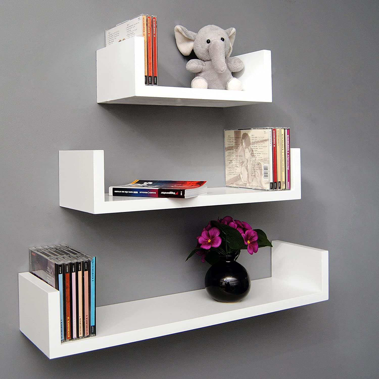 ts ideen Juego de estantes para pared madera 3 unidades