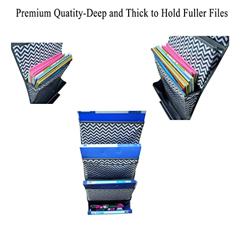 Kruideey Magazine Storage Pockets,Wall Mount/Over the Door Fabric Office Supplies Storage Organizer for Notebooks, Planners, File Folders - 4 Pockets