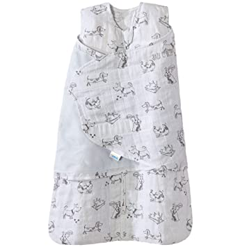 reputable site 99434 89ada Halo 100% Cotton Muslin Sleepsack Swaddle Wearable Blanket, Grey Dogs, Small