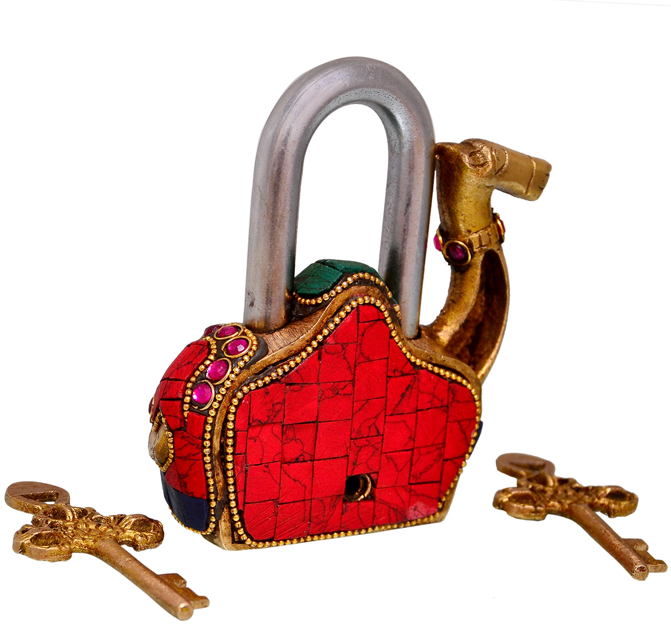 Purpledip Camel Shaped Brass Lock Padlock: Handmade Antique Design With Colorful Gemstone Work; Unique Collectible Combination Of Style & Security (10685) by purpledip (Image #3)