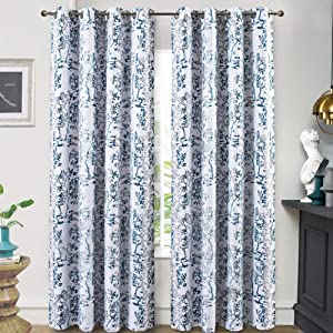 DriftAway Carol Tree Branches Leaf Botanical Print Pattern Lined Thermal Insulated Blackout and Room Darkening Grommet Window Curtains 2 Layers Set of 2 Panels 52 Inch by 84 Inch Navy and White