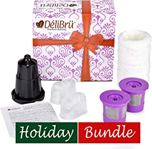 Delibru Universal Reusable K Cups Bundle Pack Gift Box Set with Adapter, Paper and Charcoal Filter. Reusable k cups for mini keurig Keurig Duo K-Duo UNIVERSAL FIT