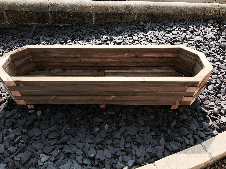 Pflanzgefäß/Blumenkasten, aus Holz, ausziehbar, achteckig, 1400 x 420 x 300 XL