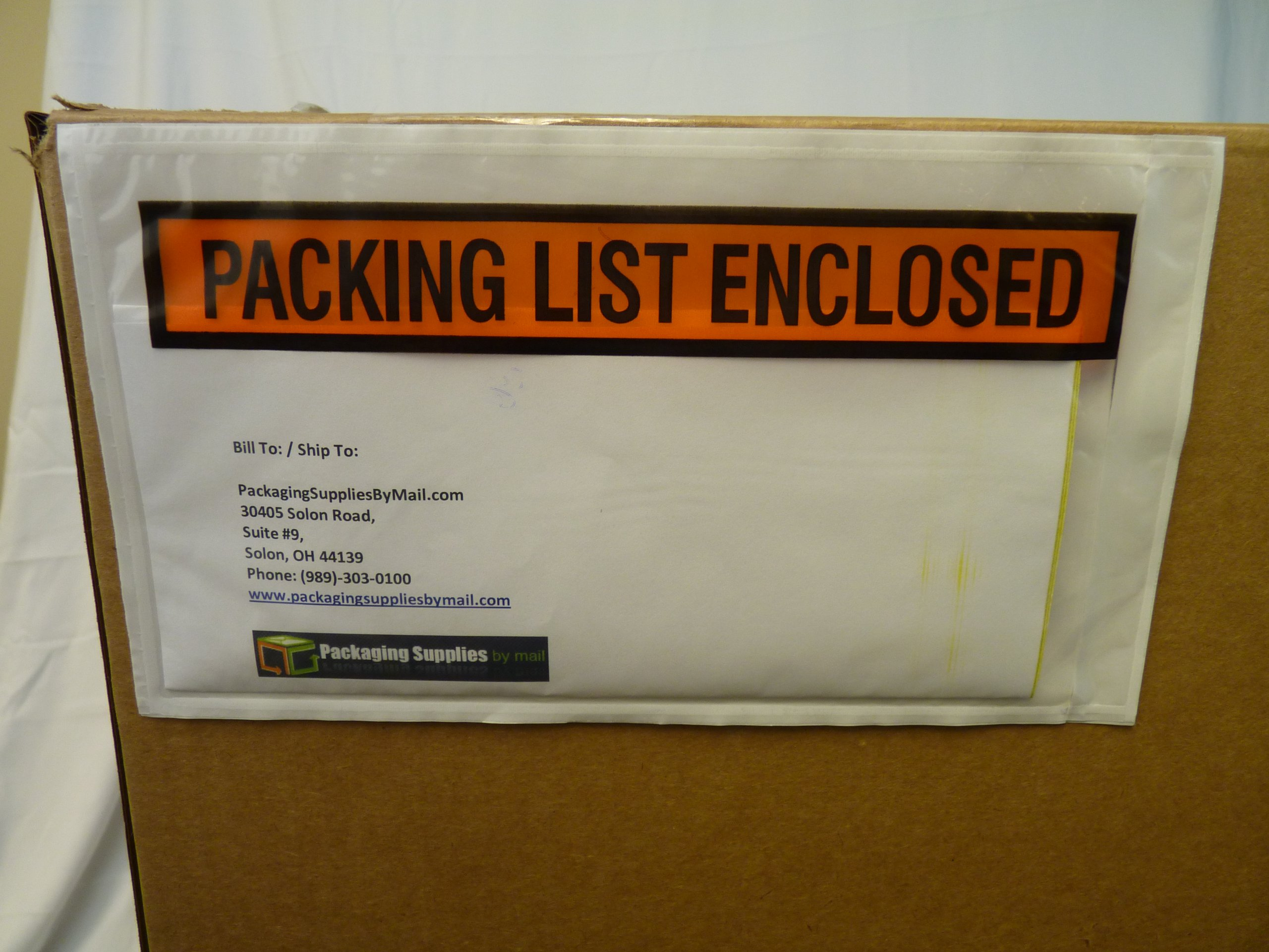 Packing List Enclosed Envelope Panel Face Back Side Load 2.0 Mil Thick - 5.5'' x 10'' 1000/Case