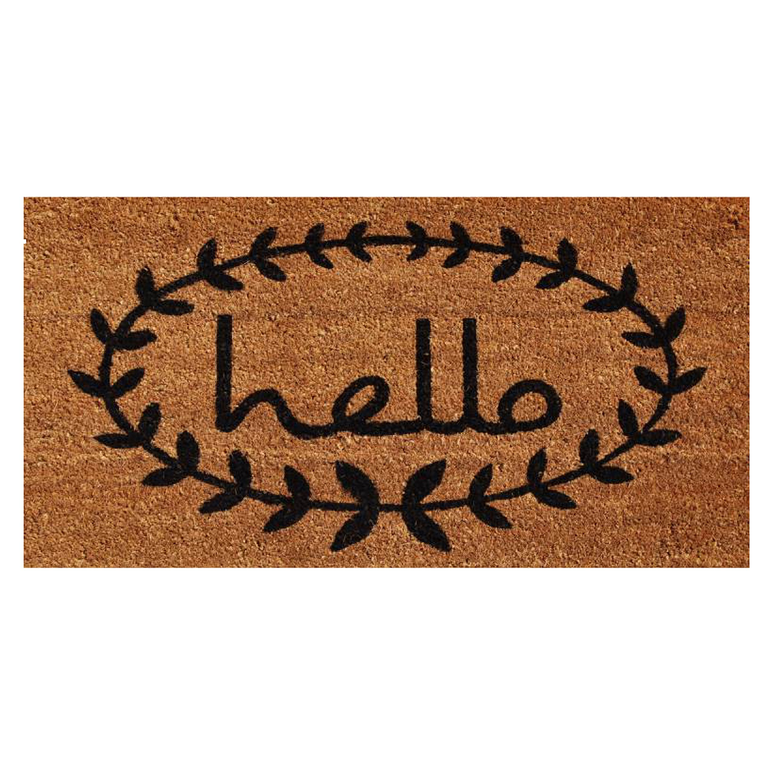 Home & More 121813672 Calico Hello Doormat, 3' x 6', Natural/Black by Home & More