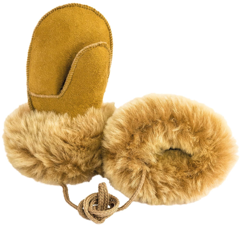 Ciora Baby & Childrens Luxury Handmade 100% Sheepskin Suede Mittens/Gloves With Cord (Small (1-2 yrs), Honey)