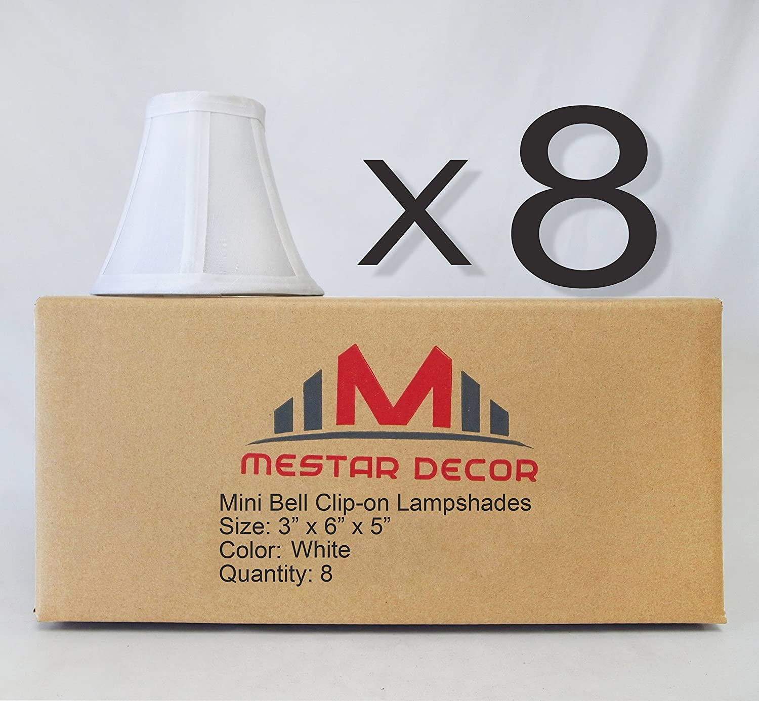 Mestar Decor 8-Pack Mini Bell Candelabra Lamp Shade Lampshade 5H Clip On Style 8pcs for Chandeliers Black Color