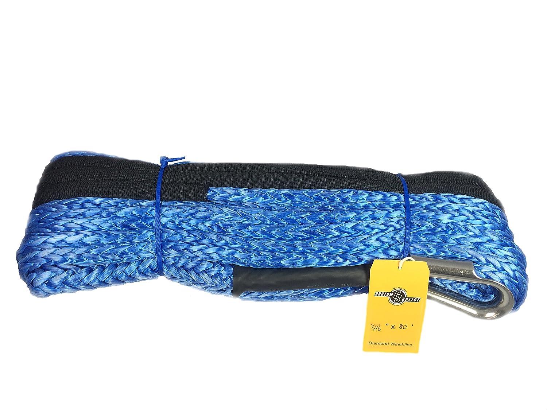 7//16 x 80 Diamond Winch Rope with Tube Thimble Custom Splice