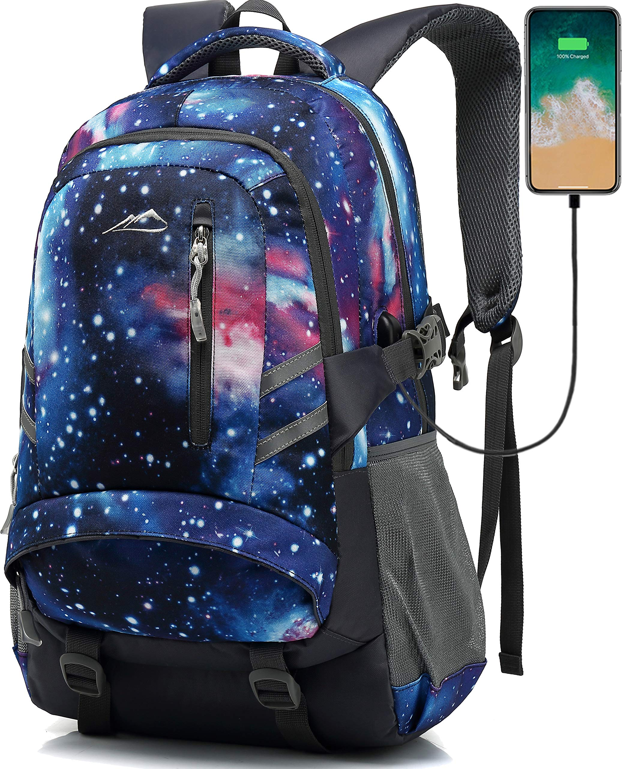 Backpack Bookbag for School Student College Business Travel with USB Charging Port Fit Laptop Up to 15.6 Inch Night Light Reflective Anti Theft (Galaxy) by ANTSANG