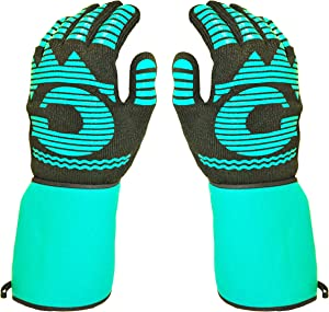 Heat Resistant Gloves - 1472 ℉ Grilling Gloves For Fireplace - Barbeque Accessories For Kitchen - BBQ Gloves - Oven Mitt For Oven, 1 Pair Easy Slip-on Long Cuff, Dupont Nomex HeatFiber is Made In USA