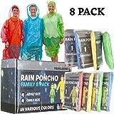 Panamint 紧急雨披 家庭装 一次性塑料雨衣 适用于远足、野营和户外活动 - 8 件装连帽斗篷 带 4 个成人斗篷 男女皆宜和 4 个儿童斗篷