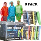 Panamint Emergency Rain Poncho Family Pack Disposable Plastic Rain Coat Ponchos for Hiking, Camping & Outdoor Events - 8 Pack of Hooded Ponchos with 4 Adult Ponchos for Men & Women & 4 Kids Ponchos