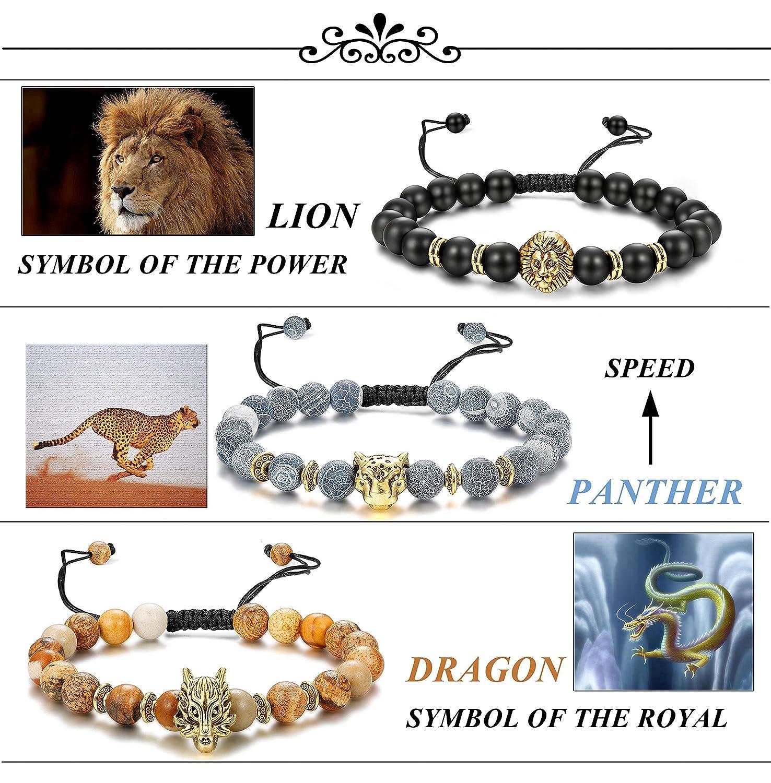 Finrezio Bracelet Pierre Naturelle pour Hommes Dragon//Lion//Panth/ère//Buddha///Él/éphant//Hibou Bracelet Lava//Oeil de Tigre//Lapis Lazuli Lot de 6 Pi/èces