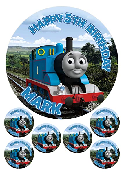 24 PERSONALISED THOMAS THE TANK ENGINE CUPCAKE TOPPER RICE,WAFER,ICING OR PRECUT