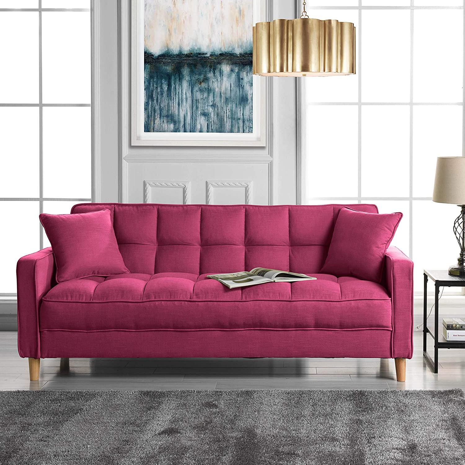 Awe Inspiring Divano Roma Furniture Modern Linen Fabric Tufted Small Space Living Room Sofa Couch Hot Pink Interior Design Ideas Gentotthenellocom