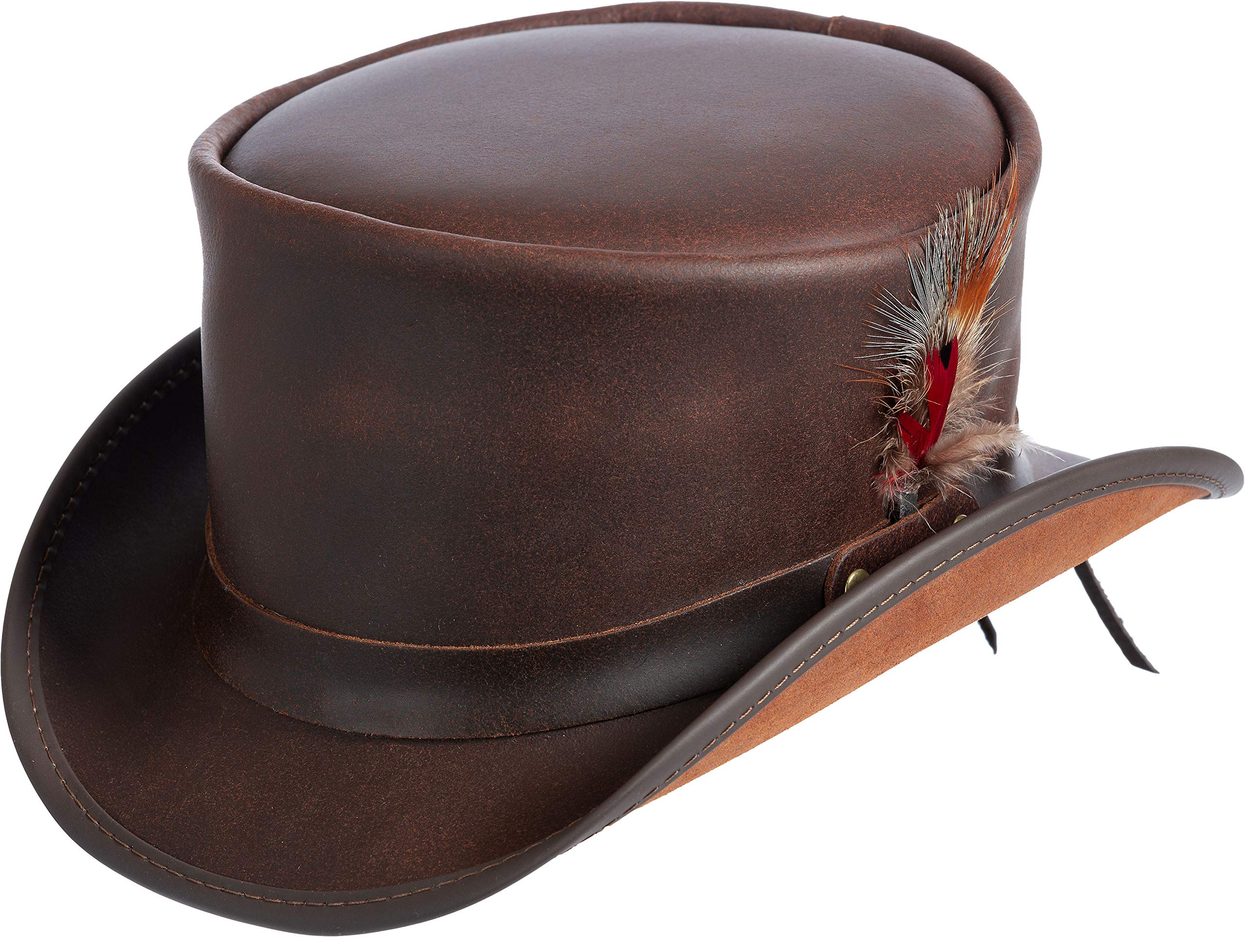 Steampunk Victorian Marlow Leather Top Hat Brown by Overland Sheepskin Co