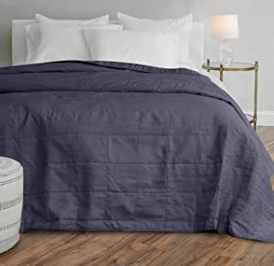 Welhome Relaxed Linen and Cotton Percale Oversize Quilt   King Size   Indigo   114