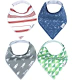 "Baby Bandana Drool Bibs for Drooling and Teething 4 Pack Gift Set For Boys ""Apollo Set"" by Copper Pearl"