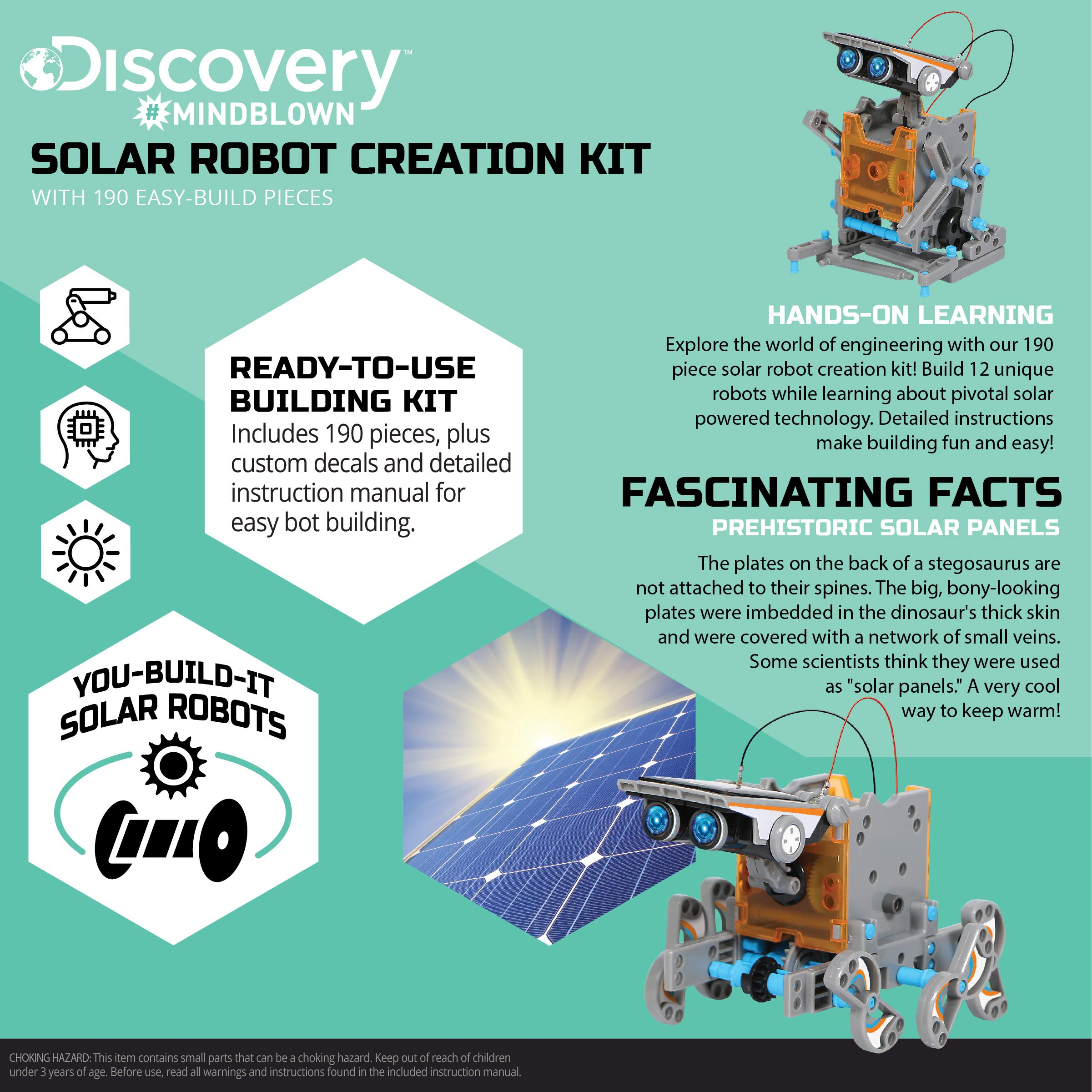DISCOVERY KIDS Mindblown STEM 12-in-1 Solar Robot Creation 190-Piece Kit with Working Solar Powered Motorized Engine and Gears, Construction Engineering Set by Discovery Kids (Image #3)