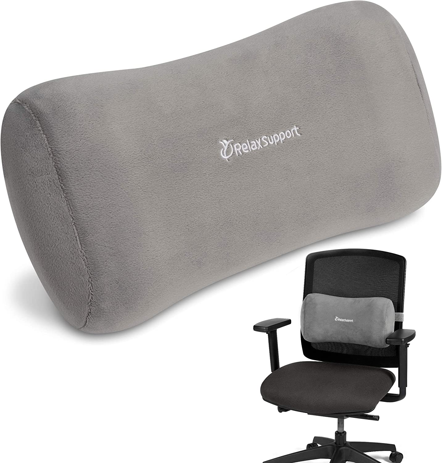 RELAX SUPPORT Office Chair Back Support Pillow RS11-X Lumbar Cushion for Upper and Lower Back Pain Uses Special Patented Technology Has Unique Lateral Convex Orthopedic Shape for a Pain Free Back