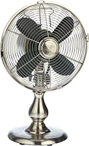 Dynamic Collections Personal Electric Desk Fan Air Circulator for Cooling Your Home, Office, Kitchen, Table, Bedroom - Oscillating Cool Classic Vintage Retro Design (Stainless Steel)
