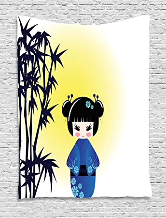 Amazon.com: Anime Tapestry by Ambesonne, Illustration of a Kokeshi ...