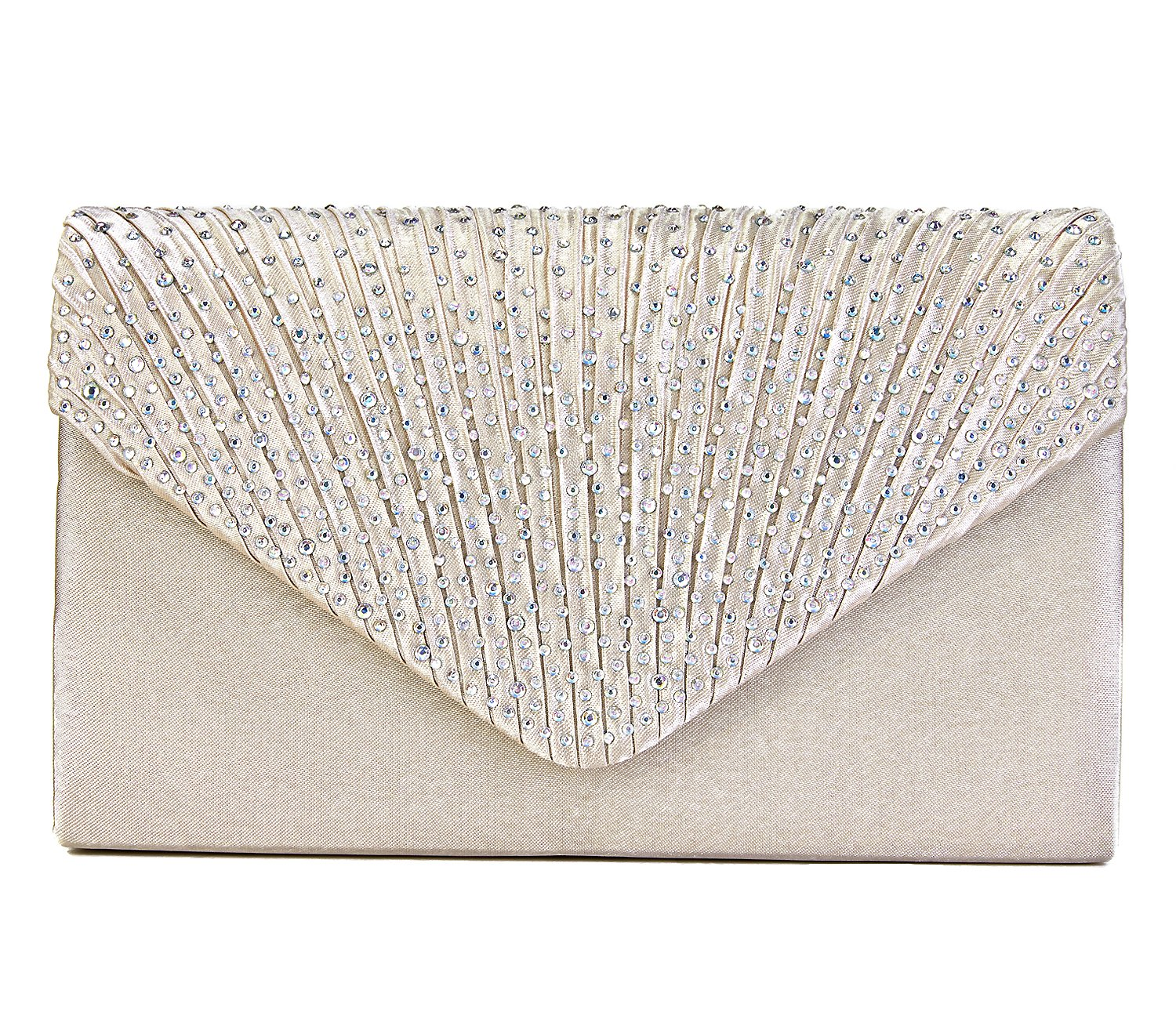 Charming Tailor Clutch Purse Evening Bag Envelope Diamante and Pleated Flap Handbag (Champagne)