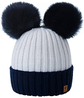 c5471800 4sold Miki Colour Womens Girls Winter Hat Wool Knitted Beanie with Double  Pom Pom Cap Ski…