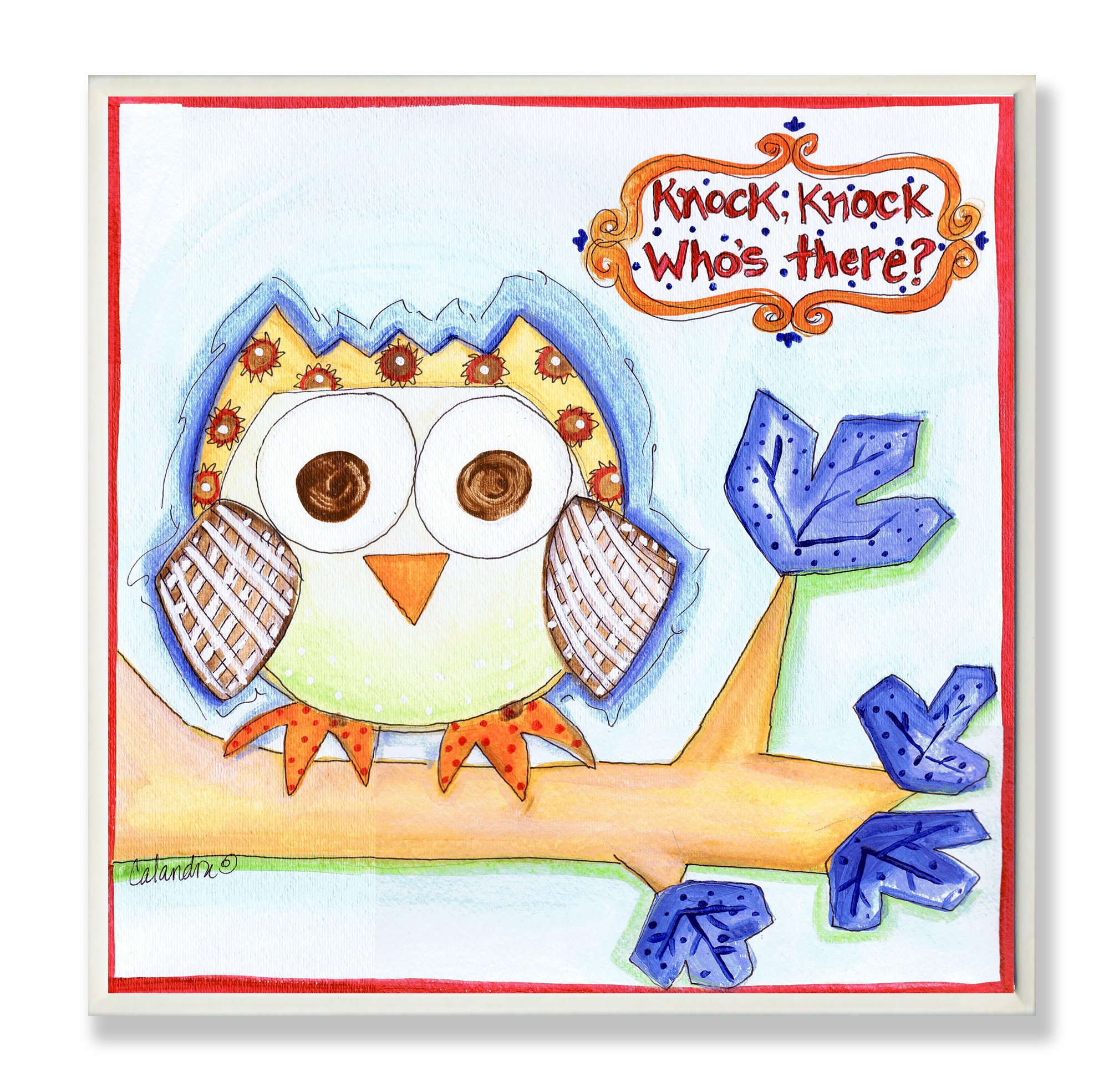 The Kids Room by Stupell Knock Knock Who's There Owl Square Wall Plaque by The Kids Room by Stupell