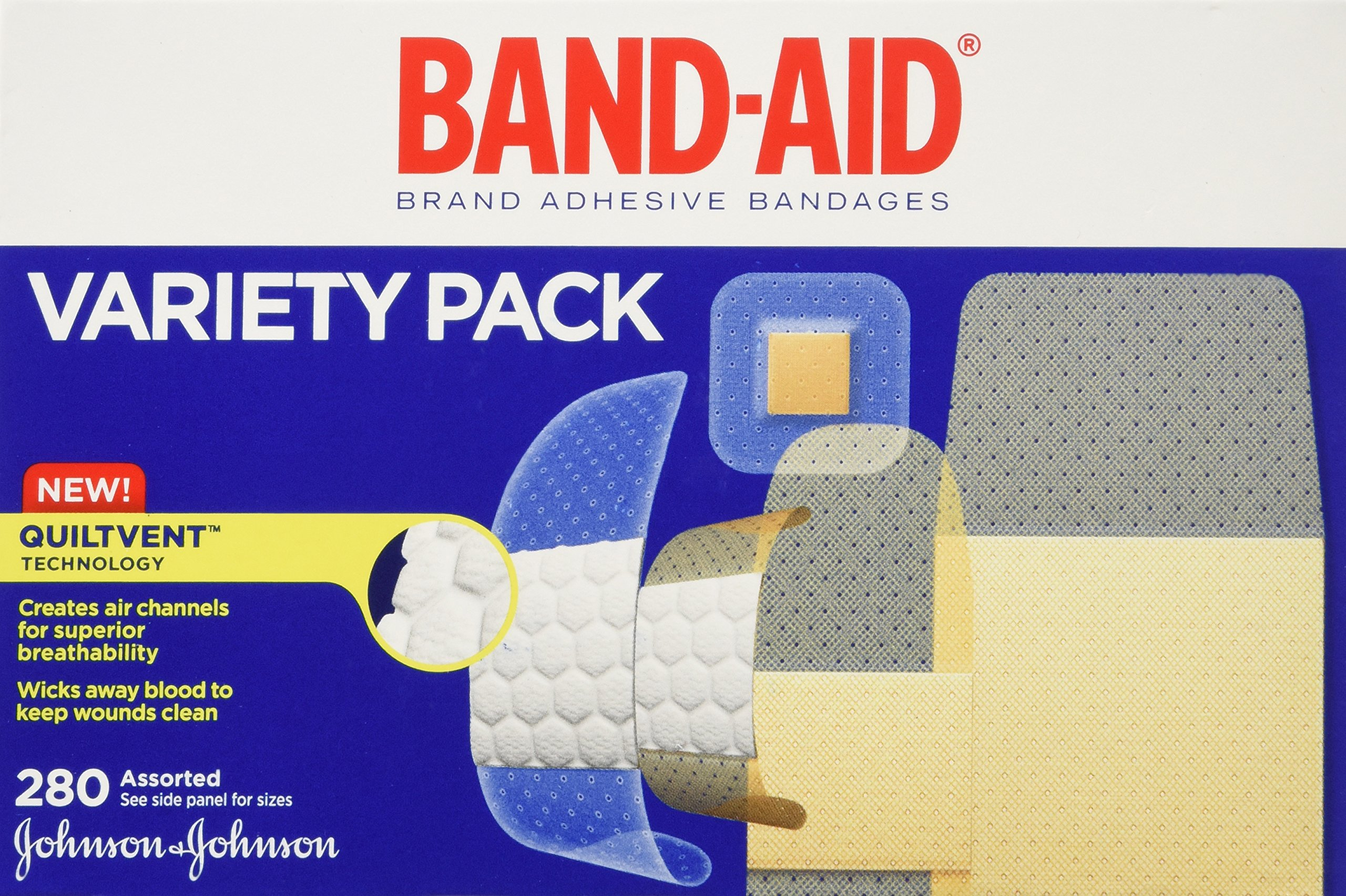 Band-Aid Brand Adhesive Bandages, Variety Pack, 280-Count Assorted Sizes (Pack of 2) by Band-Aid