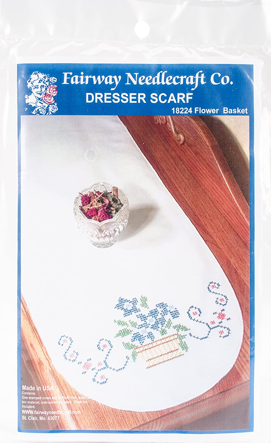 Fairway Needlecraft 18224 Dresser Scarf, Cross Stitch Flower Basket Design, White, Perle Edge