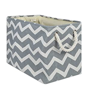 DII Collapsible Polyester Storage Basket or Bin with Durable Cotton Handles, Home Organizer Solution for Office, Bedroom Closet, Toys, Laundry, 17.75x12x15, Chevron Gray