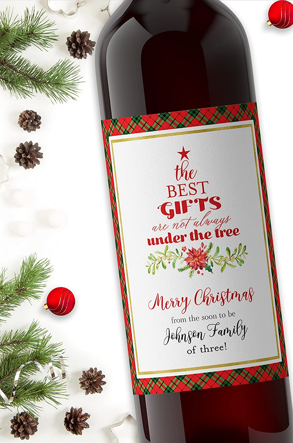 Amazon.com: Christmas Pregnancy Announcement Wine Label, CUSTOM ...