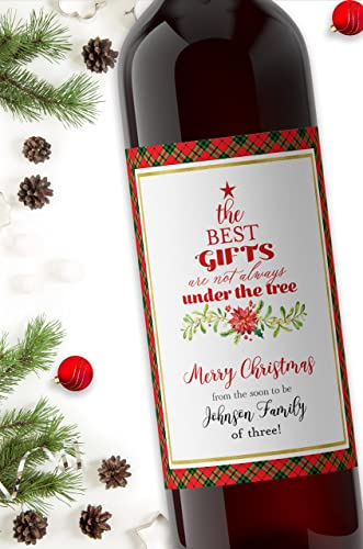 amazon com christmas pregnancy announcement wine label custom