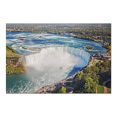 Niagara Falls, New York & Canada - Aerial Landscape View of The Famous Waterfall with a Tour Boat on a Sunny Day 9024097 (Premium 1000 Piece Jigsaw Puzzle for Adults, 20x30, Made in USA!): Toys & Games