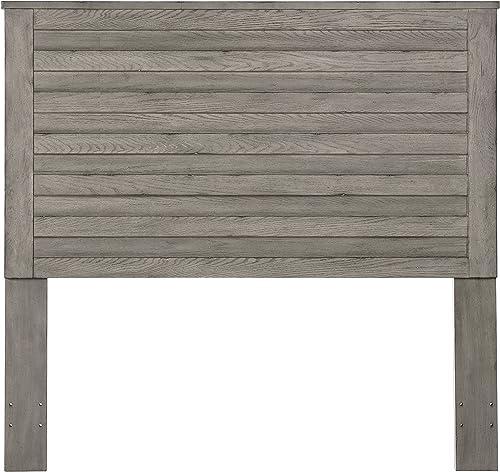 Pulaski Horizontal Slat Overlay Wood Headboard, Queen, Grey