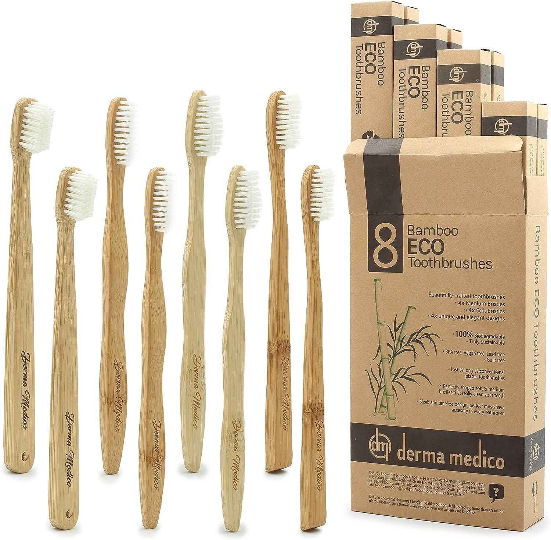 Paquete familiar de 8 cepillos de dientes de bambú, ecológicos, biodegradables, 4 medianos + 4 cerdas suaves